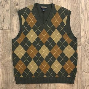 Brooks Brothers Lambswool Argyle Sweater Vest L